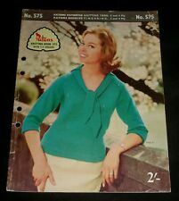 VINTAGE 1960s PATONS KNITTING BOOK # 575  WOMENS TOPS  JUMPERS
