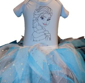Frozen Princess Elsa Print Fancy Dress Tutu Top Baby Grow Toddler Cake Smash