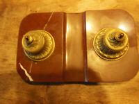 Ancien Encrier Double En Marbre et bronze époque Napoléon III  collection
