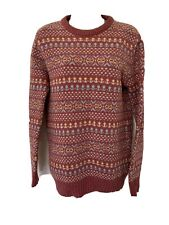 Pitlochry Vintage Scottish Fairisle Pure New Wool Jumper Pink M 12/14