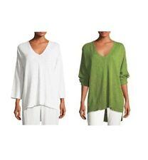 Eileen Fisher Organic-Linen & Cotton Slubbed V-Neck Sweater Tunic New