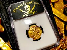"""SPAIN 2 ESCUDOS 1556-80 """"FULL CROWN, SHIELD, AND CROSS"""" NGC 58 PIRATE GOLD COINS"""
