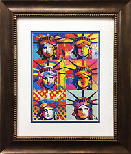 "Peter Max ""Liberty Heads"" CUSTOM FRAMED Print Art POP psychedelic Statue Head"