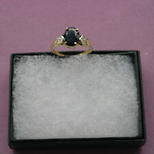 BBEAUTIFUL 9CT YELLOW GOLD NATURAL BLACK SAPPHIRE & DIAMOND RING SIZE N IN BOX