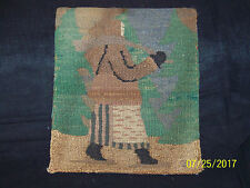 "Antique Grenfell HandMade in Canadian Labrador Hooked Mat/Rug ""Native Person"""