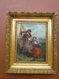 ANTIQUE OIL PAINTING ON CANVAS SIGNED HCE FISHERMAN W/WIFE & CHILD FRAMED 1901