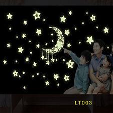 Wandaufkleber nachtleuchtend Wandtattoo fluoreszierend Mond Sterne Deko sticker
