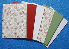 A5 Cardstock CHRISTMAS GREETINGS #4 Red Green White Card (28) Snowflake Paper