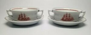 Set of 2 - Wedgwood China FLYING CLOUD 1850 RUST CREAM SOUP BOWL & SAUCER Sets