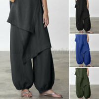Women Loose Cropped Wide Legs Elastic Waist Long Pants Holiday Harem Trousers US
