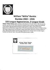 Willie Rankin Dundee 1922-1926 très rare original main signé découpe / carte