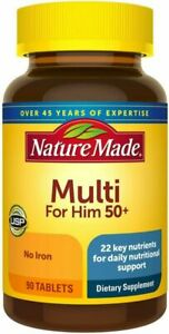 Nature Made Men's Multivitamin 50+ Tablets with Vitamin D, 90 Count for...