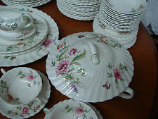 Vintage Royal Doulton Clovelly Bone China Lot of 138 Pieces with  Pink Garlands