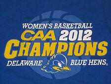 NWT DELAWARE Men's T-Shirt Women Basketball CAA 2012 Champions L XL Blue Hens