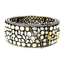Mother Of Pearl 925 Sterling Silver Bangle 14K Gold Diamond Bracelet  Jewelry