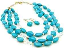 Multi-Layered Turquoise Beaded Necklace Set