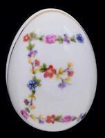 """Limoges France Floral Egg Trinket Floral Letter """"E"""" Initial Trinket Jewelry Box"""