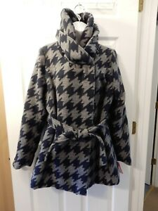 NWT XHILARATION Junior's Houndstooth Faux Wool Wrap Tie Jacket (XL) NAVY/GRAY