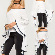 Mode Damen Neu Schulterfrei Trägerlos Oberteile Ausgestellte Ärmel Bluse T-shirt