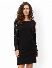 New MONSOON Black Esme Embellished Sleeve Party Jumper Dress With Wool Size 12