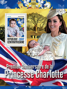 Central African Rep 2016 MNH Princess Charlotte 1st Anniv 1v S/S Royalty Stamps