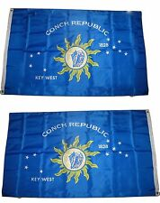 2X3 Key West Conch Republic 1828 2 Faced 2-ply Wind Resistant Flag grommets