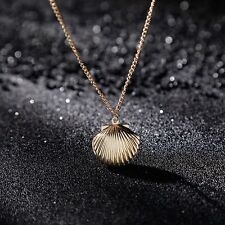 Mermaid Photo Locket Gold Tone Brass Sweater Chain Jewelry Sea Shell Necklace