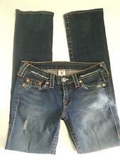 True Religion Johnny Straight Leg Jeans 29 x 33 Dark Wash Distressed Rocker Sexy
