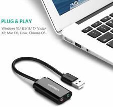TARJETA DE SONIDO EXTERNA  ADAPTADOR AUDIO Y MICROFONO 3.5MM A USB EN PC