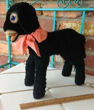 Vintage Steiff Curly Wool Plush Swapl BLUE Eyed BIG Black Lamb!