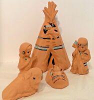 Vintage Native Ethnic Christmas Nativity Figurines Ceramic Light Up Teepee Set