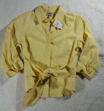 Coldwater Creek Womens Size M Petite Shirt10 12 Front Tie Geometric Yellow N62