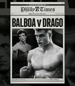 Rocky 4 Newspaper Movie 12x18 Print Poster Balboa Drago IV Russian