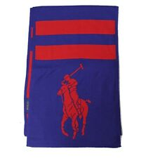 Polo Ralph Lauren Big Pony New York LTD Blue Red Washable Merino Wool USA Scarf