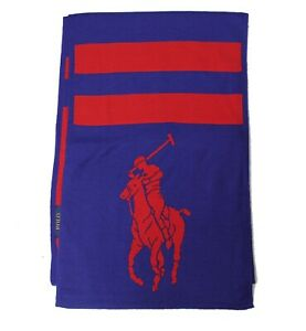 Polo Ralph Lauren Big Pony New York LTD Blue Red Washable Merino Wool USA Scarf