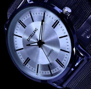 Excellanc Herren Uhr Männer Schwarz Silber Edelstahl Mesh Armband