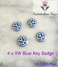 4 x VW Remote Key Fob 14mm Badge Emblem Sticker Logo Replacement Original Blue
