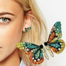 Fashion Full Crystal Colorful Butterfly Ear Stud Earrings Women Jewelry party