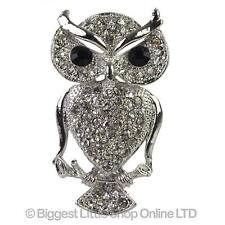 NEW Ladies Crystal OWL Brooch Diamonte Silver Cute Jewellery Sparkly Fashion