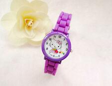 Reloj de Pulsera niños Niñas Hello Kitty Púrpura Analógico Correa De Silicona a Prueba De Agua S