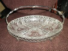 """VINTAGE OVAL GLASS 4 DIVIDED DISH IN CHROME HOLDER & SWIVEL  HANDLE 11.5"""" X 7.5"""""""