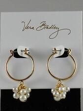 Vera Bradley Goldtone Pearl Charm Drop Hoop Earrings 14997-236501 $38