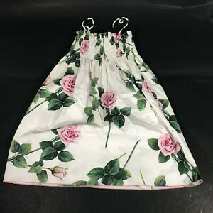 Dolce & Gabbana Printed White & Pink Rose Floral Short Sleeveless  Dress  9/10