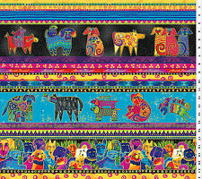 Laurel Burch Colorful  Dogs Cotton Fabric 1 Yard  Pups Doggies Stripes RETIRED