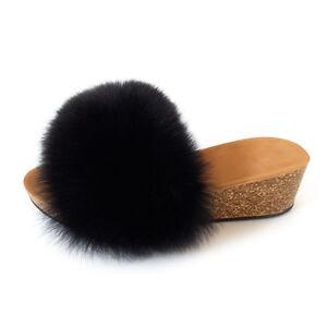 Damen Keilabsatz Pantoletten mit schwarz Fuchs Pelz Keil Sandalen mit Fell Wedge