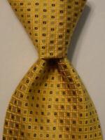 ROBERT TALBOTT Carmel Mens 100% Silk XL Necktie Luxury Geometric Yellow/Blue EUC
