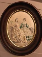 Antique Victorian Oval Framed Advertisement 2 Ladies