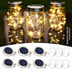 30 Led Solar Mason Jar Lid Lights 6 Pack Waterproof String Fairy Star Firefly