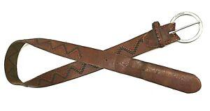 "Brown Embroidered Nixon Women's Belt Genuine Leather XS/S L 38"""