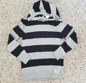NWT H&M Boys Navy Blue Gray Striped Hooded Pullover Sweater 8-10 Y